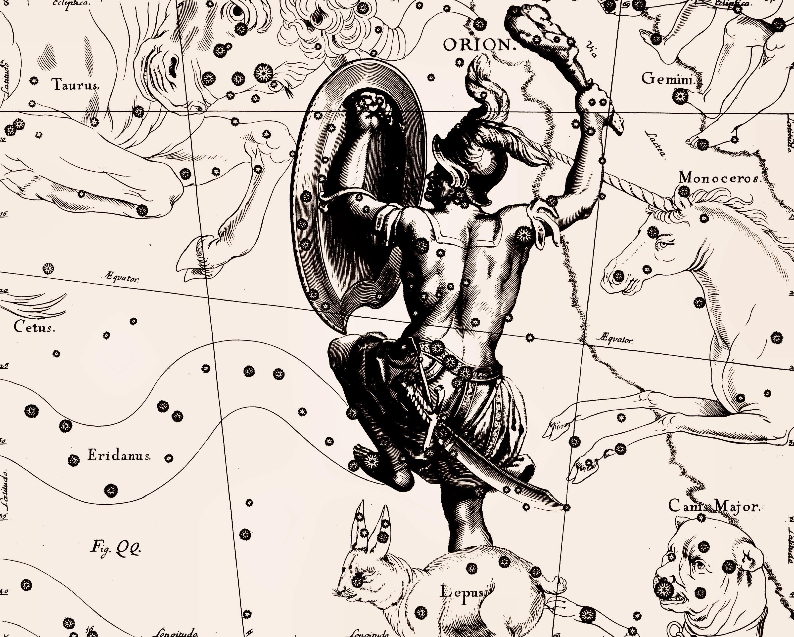 Карта звездного неба - Созвездие Ориона