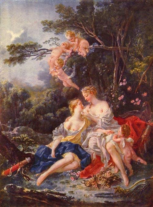 Каллисто и Юпитер Зевс принимает образ Артемиды